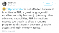 PHP is not affected by the bug