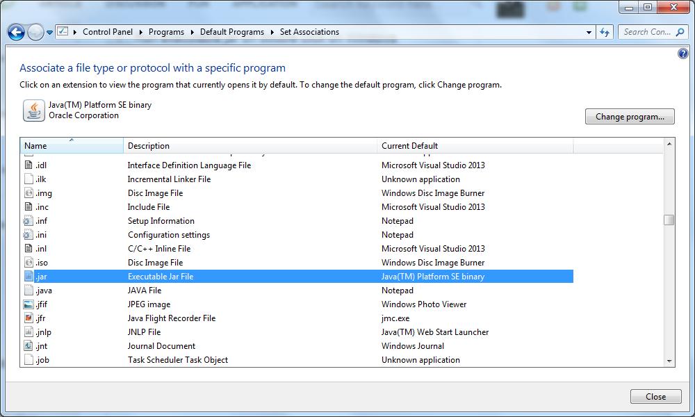 Run executable jar on double click on Windows | Pixelstech net