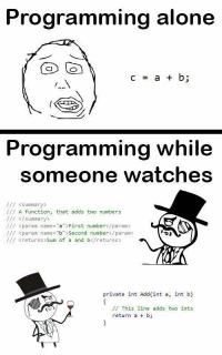 Programming alone vs programming watched by others